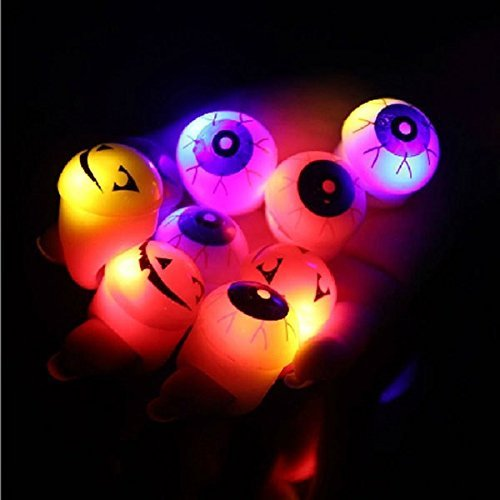 Halloween Led Light up Flashing Eyeball Eye Ball Pumpkin Bubble Elastic Ring Rave Party Blinking Soft Finger Lights-color (Blinking Led Eyes Halloween)