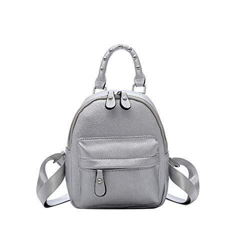 DEERWORD Women's Backpack Handbags Rucksack Shoulder Bags PU Leather Mini Kawaii Silver
