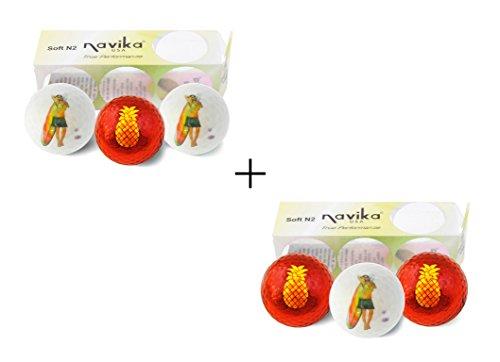 - Navika Golf Balls- Hula Girl and Pineapple Imprint (2 Pack) Combo