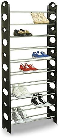 Estante Mueble de zapatos para ahorrar espacio Zapatero Metal 30 pares 10 niveles almacenaje Estanter/ía Zapatos