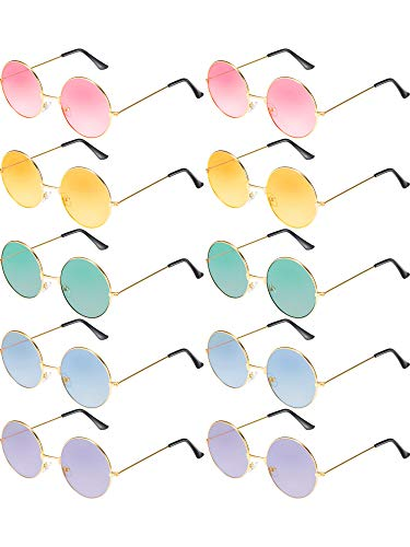 Blulu 10 Pairs Round Hippie Sunglasses John 60's Style Circle Colored Glasses (Gold ()