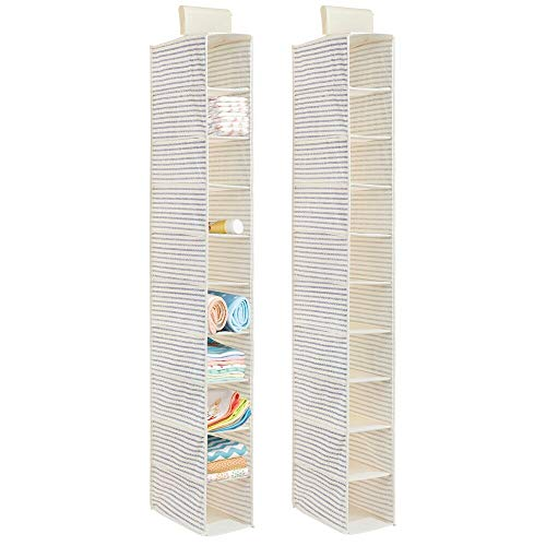mDesign Soft Fabric Over Closet Rod Hanging Storage Organizer with 10 Shelves for Holding & Organizing Baby Child/Kids Room or Nursery, Polka Dot Print, 2 Pack - Natural Tan/Cobalt Blue Stripe