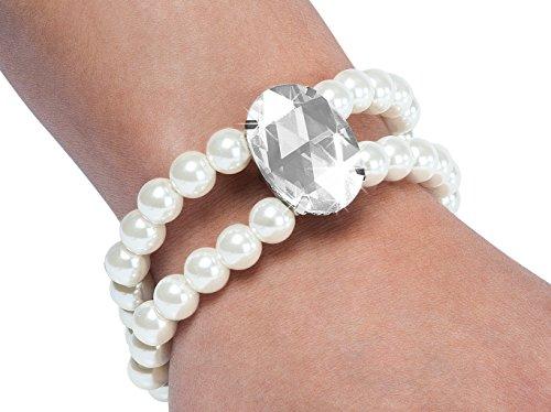 Faux pearl rhinestone bracelet
