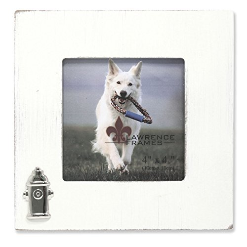 Lawrence Frames Wash Dog Frame with Fire Hydrant Ornament, 4 by 4-Inch, White ()