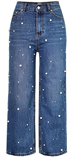 Wantmore Womens Wide-Leg Pearl Studded High Rise Straight Jeans Pants 38=M/6 (Studded Straight Leg Jeans)