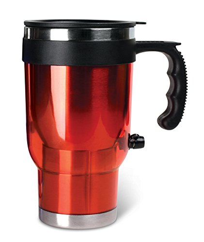 Heated 16 Oz Travel Mug for Car Automobile Travel Cup Insulated Stainless Steel 12 Volt DC Coffee Mug With Lid Keep Drinks Warm - RED - Ideas In Life