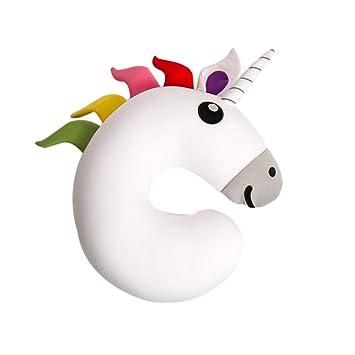 Almohada de Viaje Cuello Cervical Unicornio reposa Cabezas, Regalos para Coche viajeros, Avion, Infantiles niñas y Mujer Funda de cojin para ...