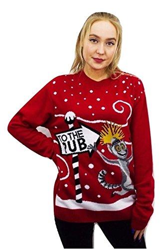 Girlzwalk Women Long Sleeve King Julian To The Pub Print Christmas Jumper 4-14 (Julian Christmas King)