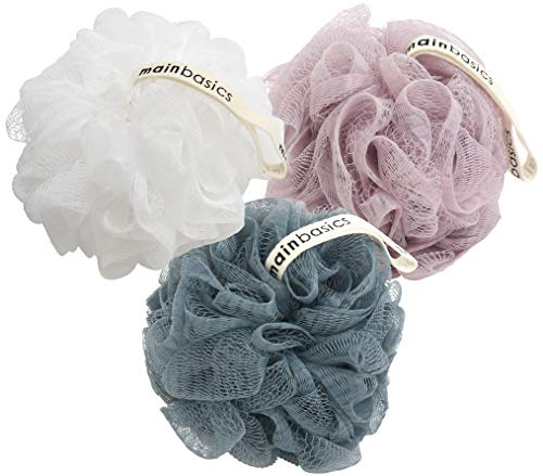 MainBasics Bath Shower Loofah Sponge Pouf Body Scrubber Exfoliator (Set of 3) (Hard White Ball Under Skin On Balls)