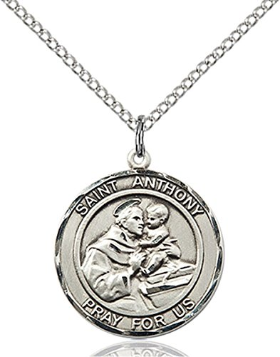 Sterling Silver Round Catholic Saint Anthony Medal Pendant  3 4 Inch