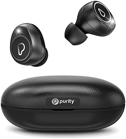 Purity True Wireless Earbuds with Immersive Sound, Bluetooth 5.0 Earphones in-Ear with Charging Case Easy-Pairing Stereo Calls Built-in Microphones IPX5 Sweatproof Pumping Bass for Sports,Workout,Gym