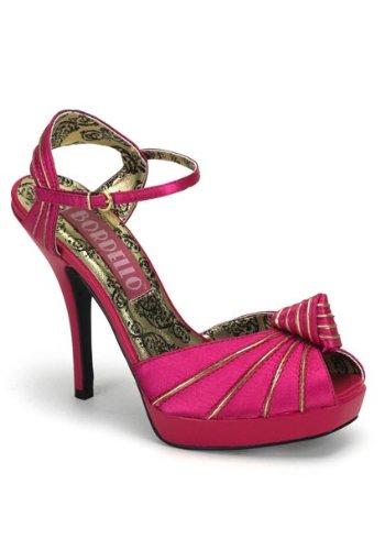 Pleaser Bordello By Women's Preen-16 Peep Toe Platform,Fushia Satin,7 M US ()