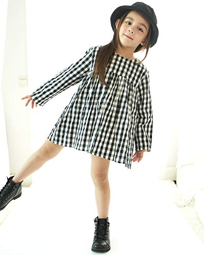 Little Girls High Waist Plaid Dress Black White Long Sleeve Spring Fall Playwear Size 110 (4T) Black Plaid by DeerBird (Image #3)
