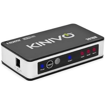 Kinivo HDMI Switch 301BN Premium 3 Port Wireless Remote & AC Power Adapter