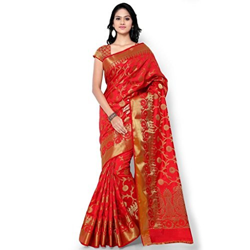 Varkala Silk Sarees Women's Tussar Silk Kanchipuram Saree With Blouse Piece_(PT1001RD_Red) by Varkala Silk Sarees