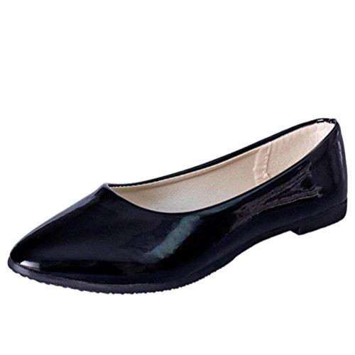 LANDFOX Mujeres Señora Flat Punta Punta De Pie Deslizamiento De Cuero En Loafers Casual Zapatos Negro