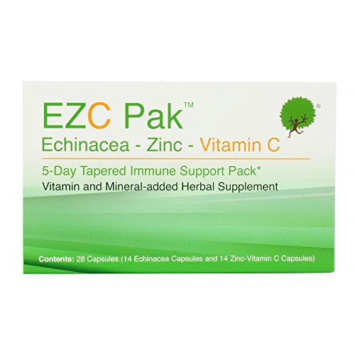 EZC Pak Echinacea, Zinc and Vitamin C Supplements for Immune System Support, 28 Gluten-Free Vegetarian Capsules, Physician-Designed 5-Day Tapered Pack