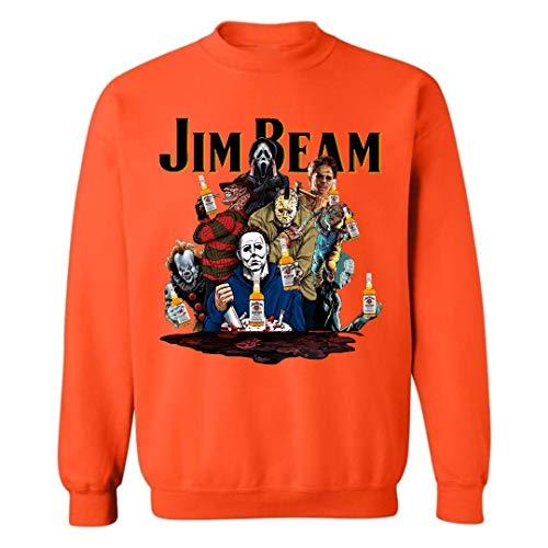 Jim Beam Halloween Costume (Jim-Beam Halloween Horror Film Characters Sweatshirt Costumes for Mens Womens Up to 5XL (Orange -)