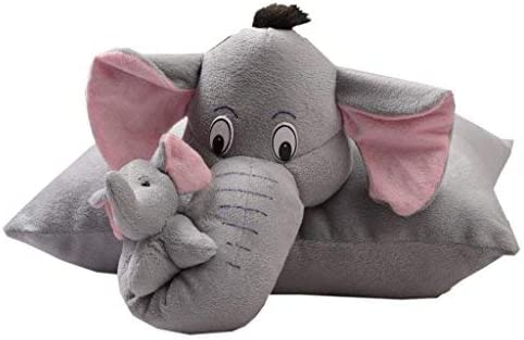 CLASS ONE Stuffed Soft Toy Plush Cushion | Baby Hug Elephant Pillow Cute Elephant Cartoon Figure Fold able Pillow for Kids Premium Quality Birthday Gift - Grey Color (40 cm)