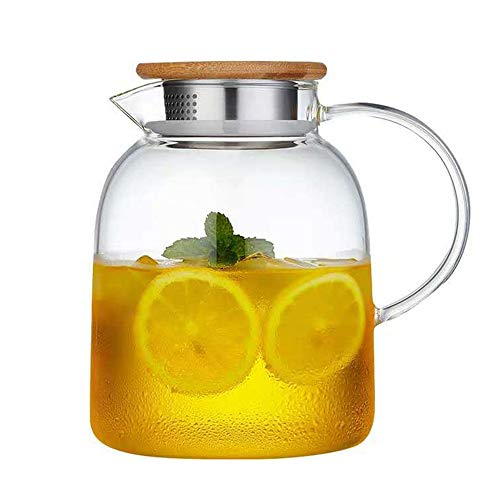 Large Capacity Glass Kettle, Transparent Juice Jug With Lid And Handle High Temperature Glass ()