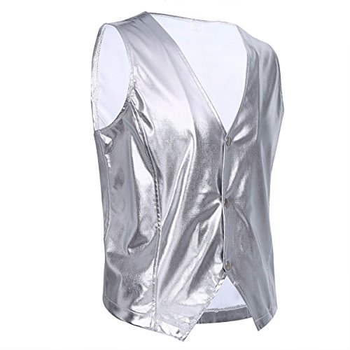 Alvivi Men's MC Hammer Old School Rapper Costume Vest Adult Metallic Clubwear Nightclub Suit Silver X-Large