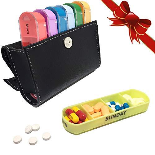 (L.N.Uro Weekly Travel Pill Organizer Box-Prescription & Medication Wallet Pill Box Reminder Pill Container Vitamin Caddy Organizer Pill Organizer Box Weekly Case-Cute Travel Medication Reminder Daily)
