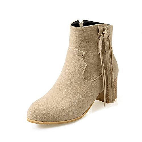 AllhqFashion Womens Low-Top Zipper Frosted Kitten-Heels Round Closed Toe Boots Beige 8CGeu