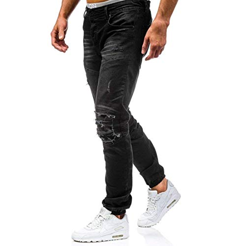 Pants In Jogger Men's Pantaloni Straight Retro Nero Holes Knee Stretch Ridges Huixin Ripped Skinny Denim Jeans nwqY4H6HU