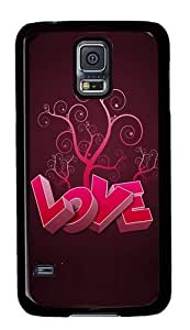 Rugged Samsung Galaxy S5 Case and Cover - 3D Heart And Tree Custom Design PC Case Cover for Samsung Galaxy S5 - Black