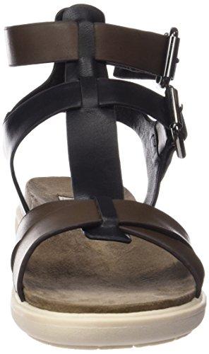 Wrangler Magnolia Gladiator Laminated - Sandalias de Gladiador Mujer Negro - Schwarz (331  Black / Gun Metal)