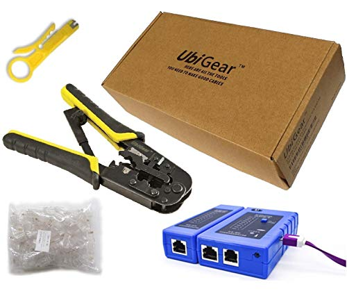 UbiGear Cable Tester +Crimp Crimper +100 RJ45 CAT5e Connector Plug Network Tool Kits ()