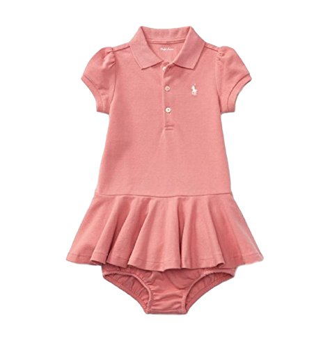 RALPH LAUREN Baby Girls Dress & Bloomer Set Short Sleeve Cotton (Rugby Pink, 3 - Lauren Girl Ralph