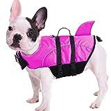 Queenmore Ripstop Dog Life Jacket, Shark Life Vest for Dogs, Size Adjustable Lifesaver Safety Jacket, Pet Saver Vest Coat Flotation Float Aid Buoyancy(Rose Red XS)
