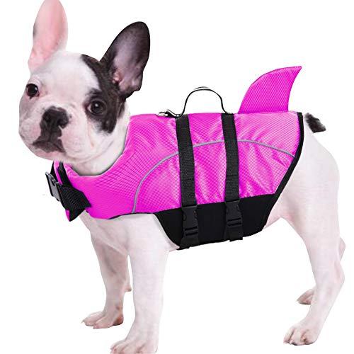 Queenmore Ripstop Dog Life Jacket, Shark Life Vest for Dogs, Size Adjustable Lifesaver Safety Jacket, Pet Saver Vest Coat Flotation Float Aid Buoyancy(Rose Red S) ()