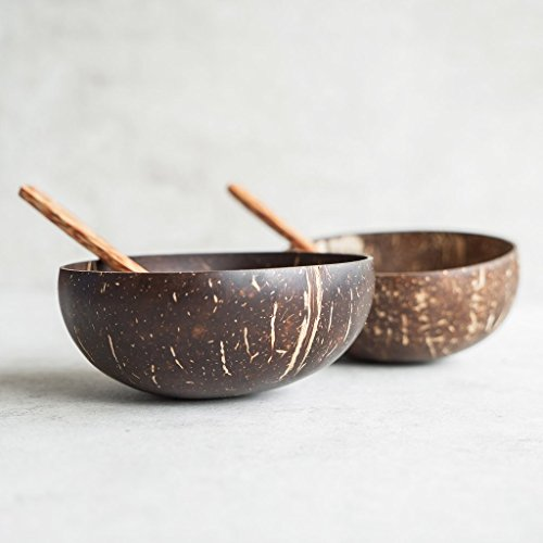 Natural Coconut Bowls and Spoons (set of 2) - Polished with Coconut Oil, Durable, Lightweight, Easy Clean, Large Wooden Serving Bowl for Fruits or Salads, Breakfast, Decoration, Vegan Friendly - Green Fruit Dessert Bowl