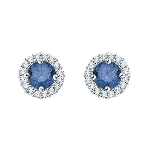 Diamond Halo Earrings with Blue Center Diamond in 10K White Gold (1/2 cttw) (Color GH, Clarity I2-I3)