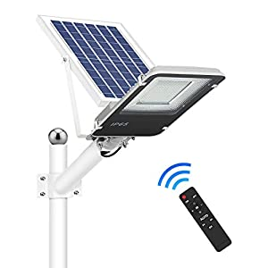120W Solar Street Lights Outdoor, Dusk to Dawn Solar Led Outdoor Light with Remote Control, 6500K Daylight White…