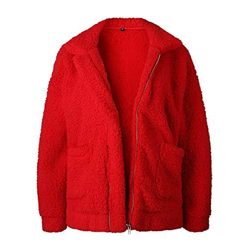 Manteau Longue Chaud D'hiver Peluche Laine Manche En Pour Rouge Veste Femmes wrpUZw