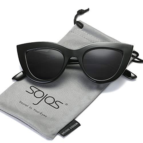 SOJOS Retro Vintage Cateye Sunglasses for Women Plastic Frame Mirrored Lens SJ2939 with Black Frame/Grey ()