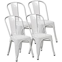 eurosports Tolix Style Chair 3004-MW-4 Metal Kitchen Dining Chairs with Back, Set of 4 Matte White
