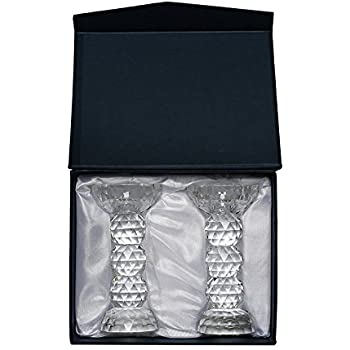 Amlong Crystal Faceted Round Crystal Candle/Tealight Holder, set of 2