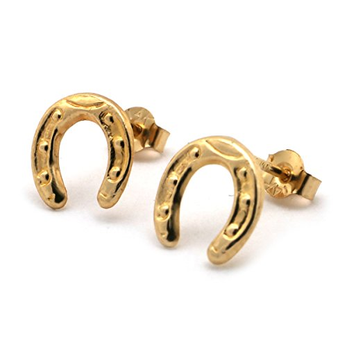 14k Yellow Gold Small Textured Horseshoe Stud (14k Gold Horse)
