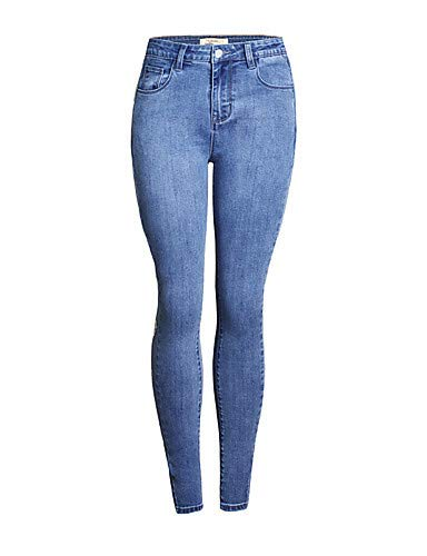 YFLTZ Femmes Pantalons Solid Blue White Active Gland amp; Jeans Blue Color rpqATrn