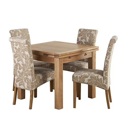 Mesa Extensible de Roble Macizo Natural con 4 sillas de Tela de ...