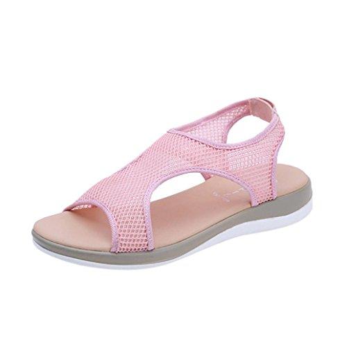 Ansenesna Sandalen Damen Sommer Flach Offen Romeinse Sommerschuhe Stoff Atmungsaktiv Strand Outdoor Schuhe Rosa