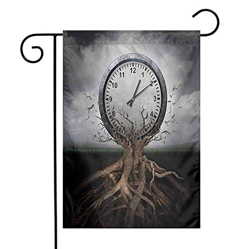 (Mannwarehouse Clock Garden Flag A Vintage Clock Breaking Free from a Tree Trunk A Surrealistic Symbol for Strategy Print Premium Material W12 x L18)