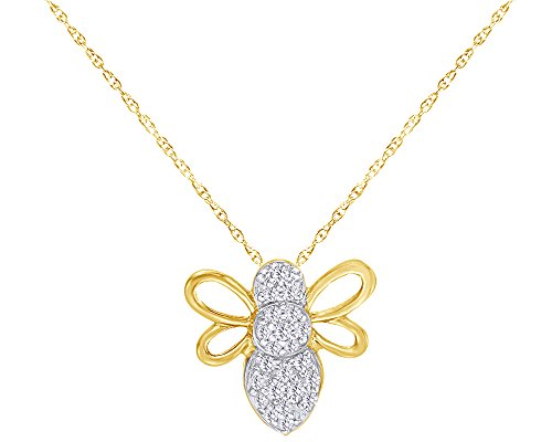1/10 CT Round Cut White Natural Diamond Bee Pendant Necklace in 10K Solid Yellow ()