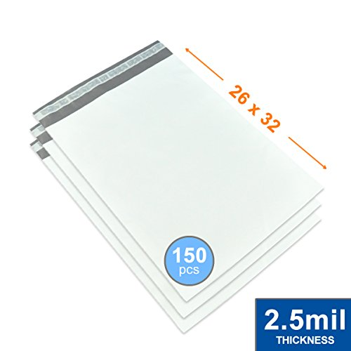 26'' x 32'' Poly Mailers Shipping Envelopes Bags Waterproof/Self Sealing/2.5 Mil/White/150 Pack by Impackt