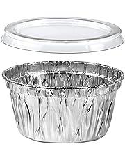 Premium Aluminum Foil Ramekins With Lids | Heavy Duty Disposable Mini Ramiken Set | Perfect Bake Pans For Cupcakes, Creme Brulee, Cakes, Sauces, Condiments, Samples | 100 Pack