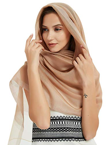 - Head Hijab Sheer Silk Scarf For Women Lager Shawl Wrap Soft Lightweight Sheer Voile Lap Muslim Khaki Scarf By J'Mysticon